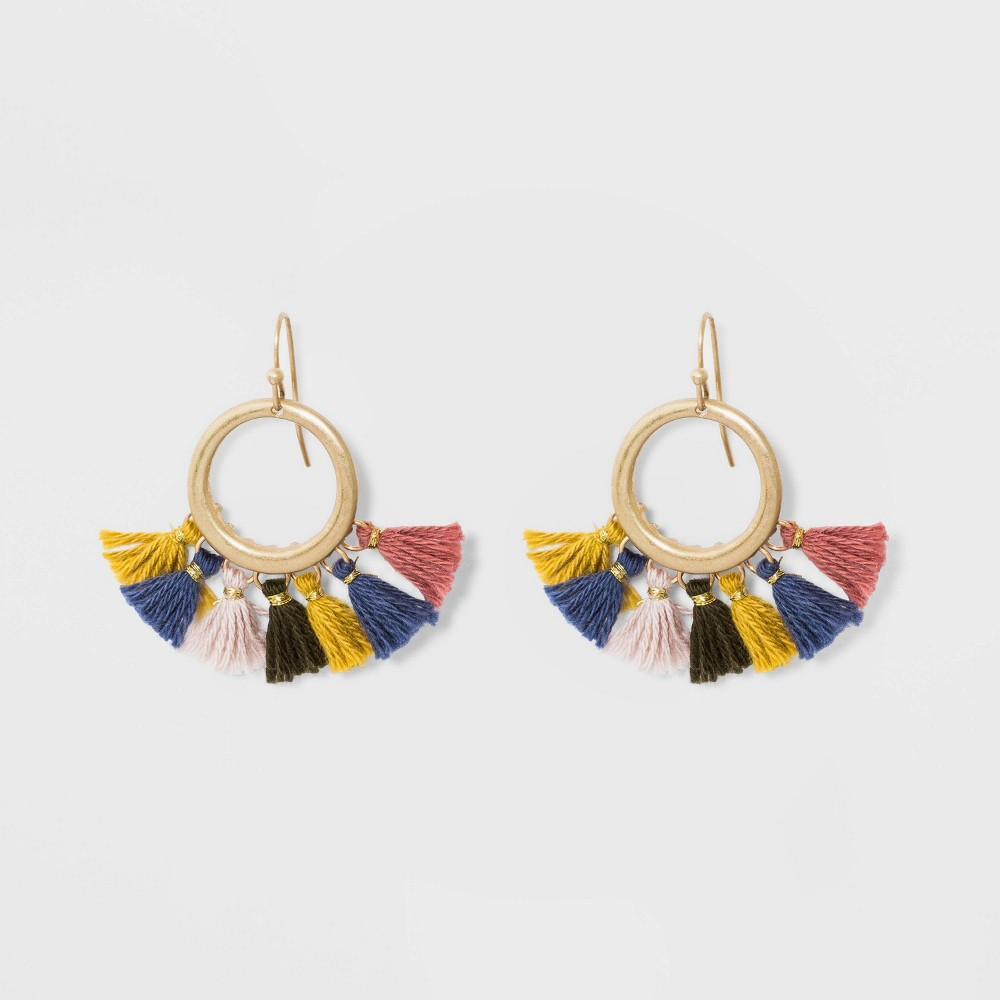 Drop Circle with Tassel Earrings - Universal Thread, Multi-Colored