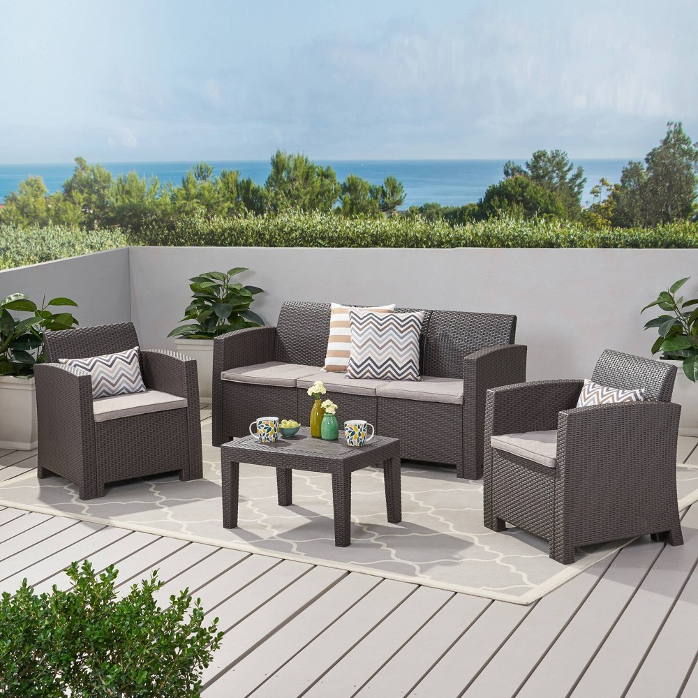 Jacksonville 4pc Faux Wicker Chat Set Brown Christopher Knight Home