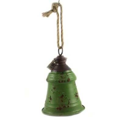 """Home Decor 9.5"""" 9.50  Inch Green Metal Bell Tin Decorate Christmas Holiday  -  Decorative Figurines"""