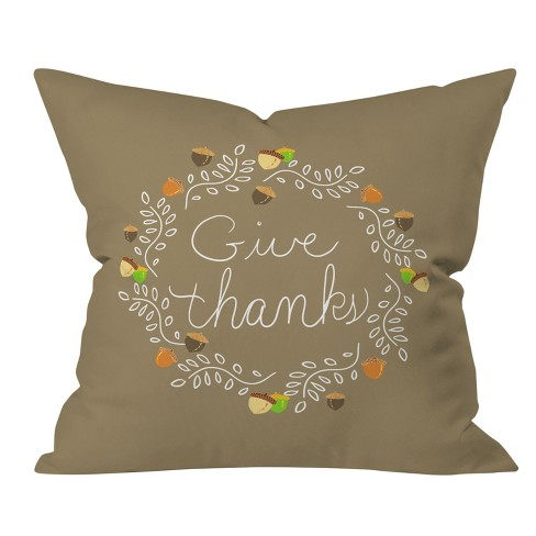 Lisa Argyropoulos Giving Thanks Square Throw Pillow Brown - Deny Designs - image 1 of 1