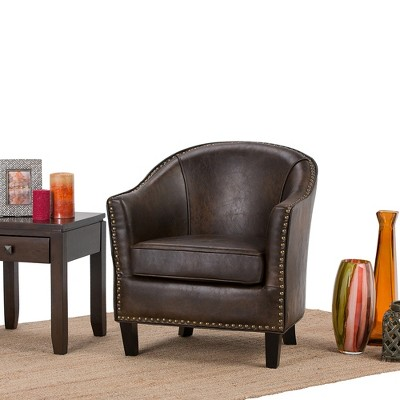 Beau Kildare Bonded Leather Upholstered Tub Chair   Simpli Home : Target