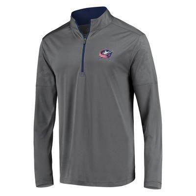 NHL Columbus Blue Jackets Men's Defender Embossed 1/4 Zip Sweatshirt - Gray