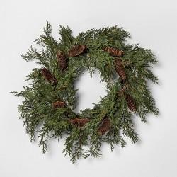 "24"" Faux Cedar Wreath with Pinecones - Hearth & Hand™ with Magnolia"