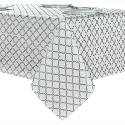Kate Aurora White & Gray Moroccan Geometric Fabric Tablecloth