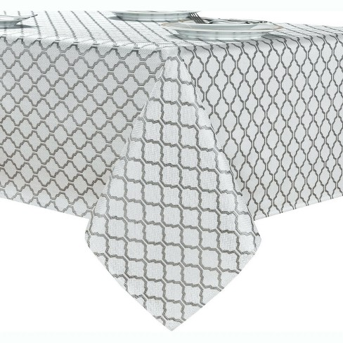 Kate Aurora White & Gray Moroccan Geometric Fabric Tablecloth - image 1 of 3