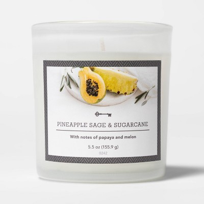 5.5oz Glass Jar Pineapple Sage and Sugarcane Candle - Threshold™