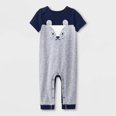 Baby Boys' Short Sleeve Critter Romper - Cat & Jack™ Heather Gray 18M