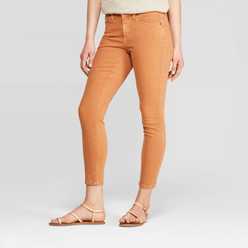 Women's High-Rise Cropped Skinny Jeans - Universal Thread™ Roasted Orange - image 1 of 3