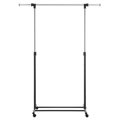 Metal Base Adjustable Single Rod Garment Rack Black - Room Essentials™