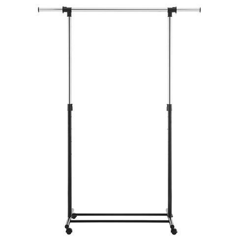 Metal Base Adjustable Single Rod Garment Rack   Black   Room