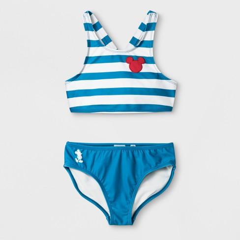 8b6f74f168 Junk Food Girls  Disney Mickey Mouse Striped Bikini Set - Blue   Target