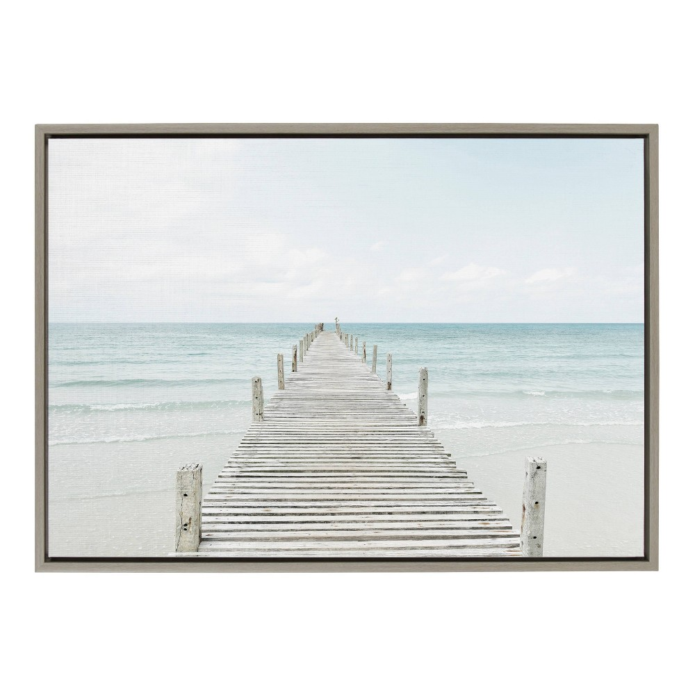"""Image of """"23"""""""" x 33"""""""" Sylvie Wooden Pier On The Beach Framed Canvas Wall Décor By Amy Peterson Gray - Kate and Laurel, Blue"""""""