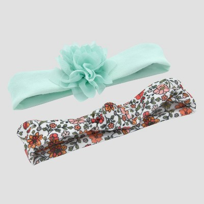 Baby Girls' 2pk Floral Jersey Headwraps - Just One You™ Made by Carter's® Multicolor