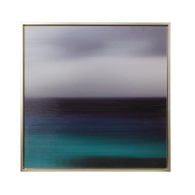 "31.5"" Square Seascape Heavy Brush Gel Coat Framed Wall Canvas Blue"