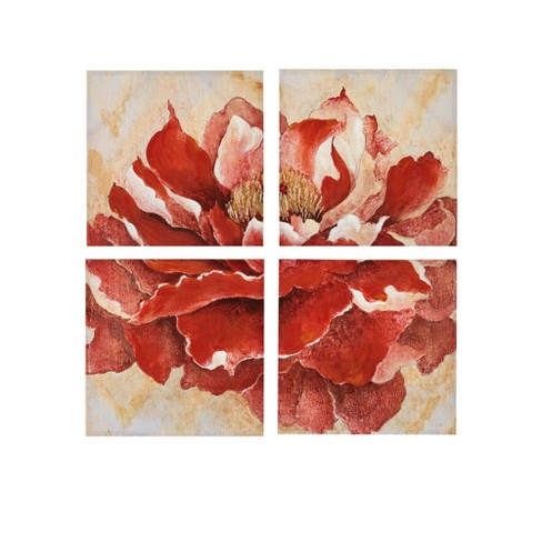 "Romanza Hand Embellishment Canvas 4pc Set Red 20""x20"" - image 1 of 6"