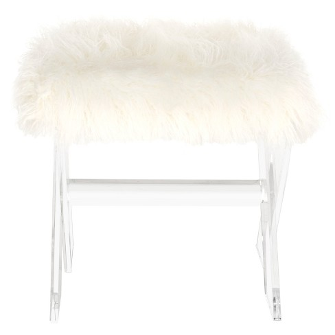 Keely Sheepskin X Bench Clear - Safavieh - image 1 of 6
