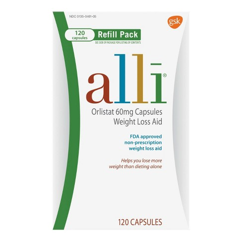 Alli Orlistat 60 Mg Capsules Weight Loss Aid Refill Pack 120ct