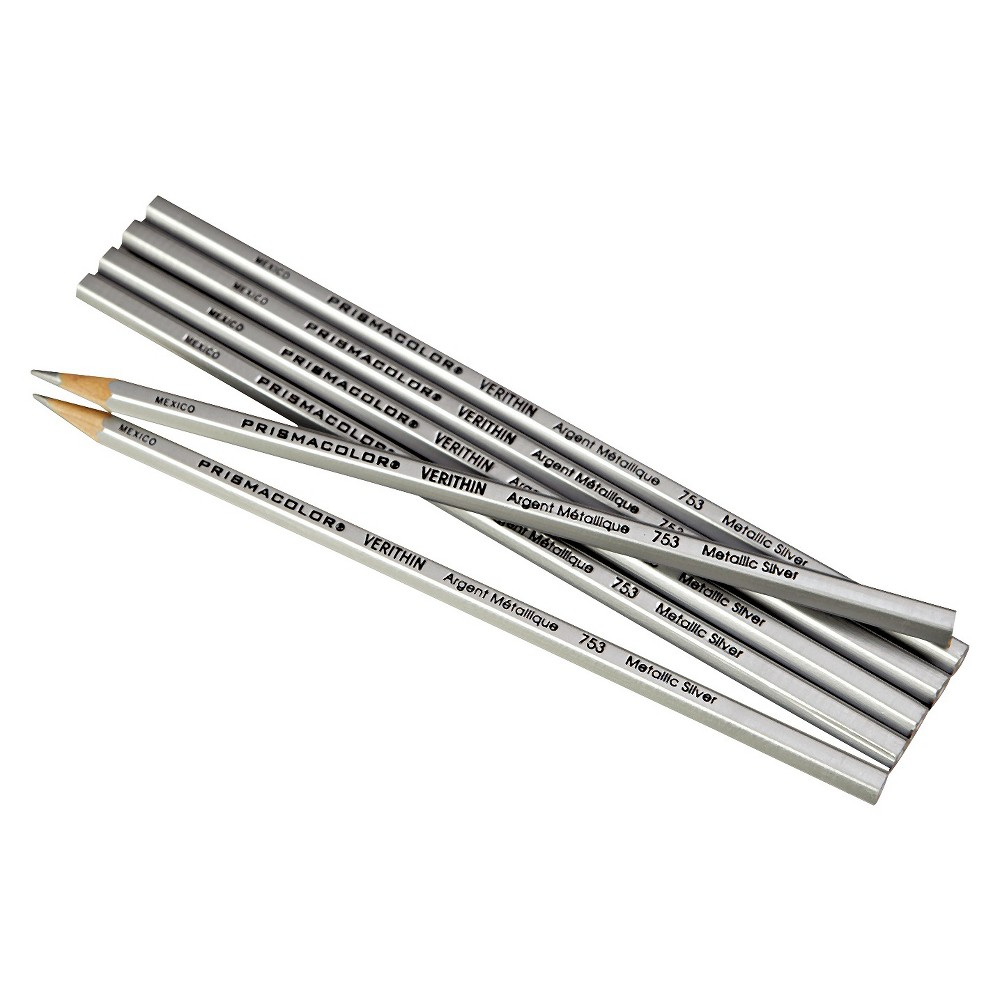 Prismacolor Verithin Colored Pencils, Metallic Silver, Dozen, Silver/Wood