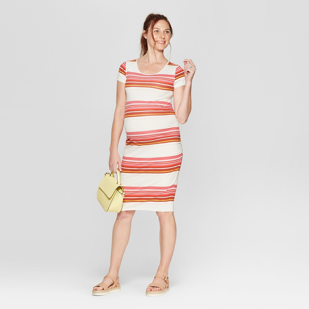 Maternity Striped Short Sleeve Shirred T-Shirt Dress - Isabel Maternity by Ingrid & Isabel XL, Women's, Multicolored