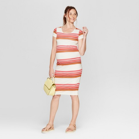 Maternity Striped Short Sleeve Shirred T-Shirt Dress - Isabel Maternity by Ingrid & Isabel™ - image 1 of 2