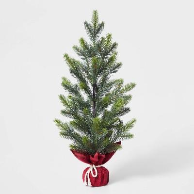 Large Christmas Tree Decorative Figurine with Red Burlap - Wondershop™