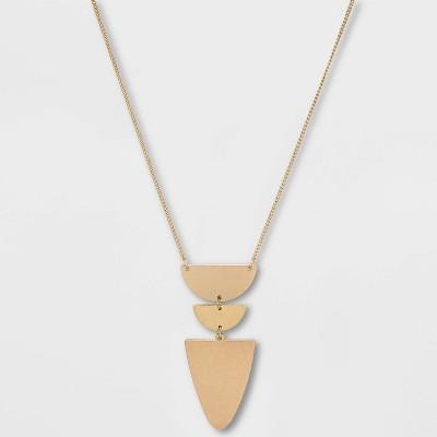 Flat Geometric Brass and Worn Gold Pendant Necklace - Universal Thread™ Gold