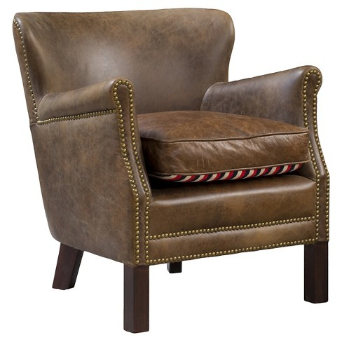 Cumbrae Top Grain Leather Arm Chair Brown - Christopher Knight Home - image 1 of 4