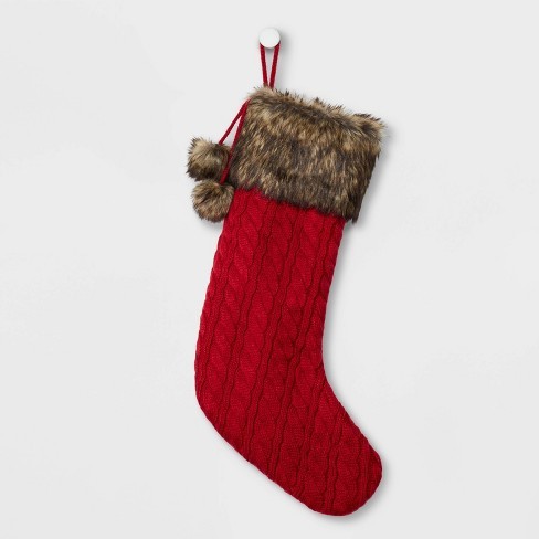 Cable Knit Christmas Stockings.Cable Knit Christmas Stocking With Faux Fur Cuff Pom Poms Red Wondershop