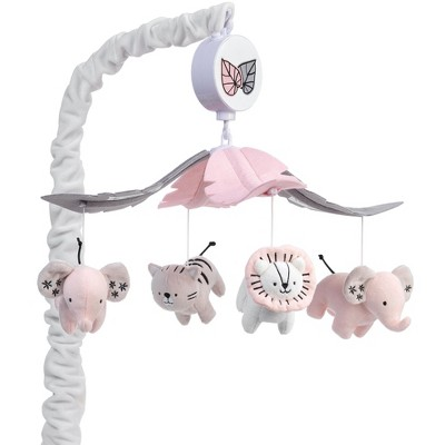 Lambs & Ivy Happy Jungle Musical Baby Crib Mobile Safari Animals Soother Toy