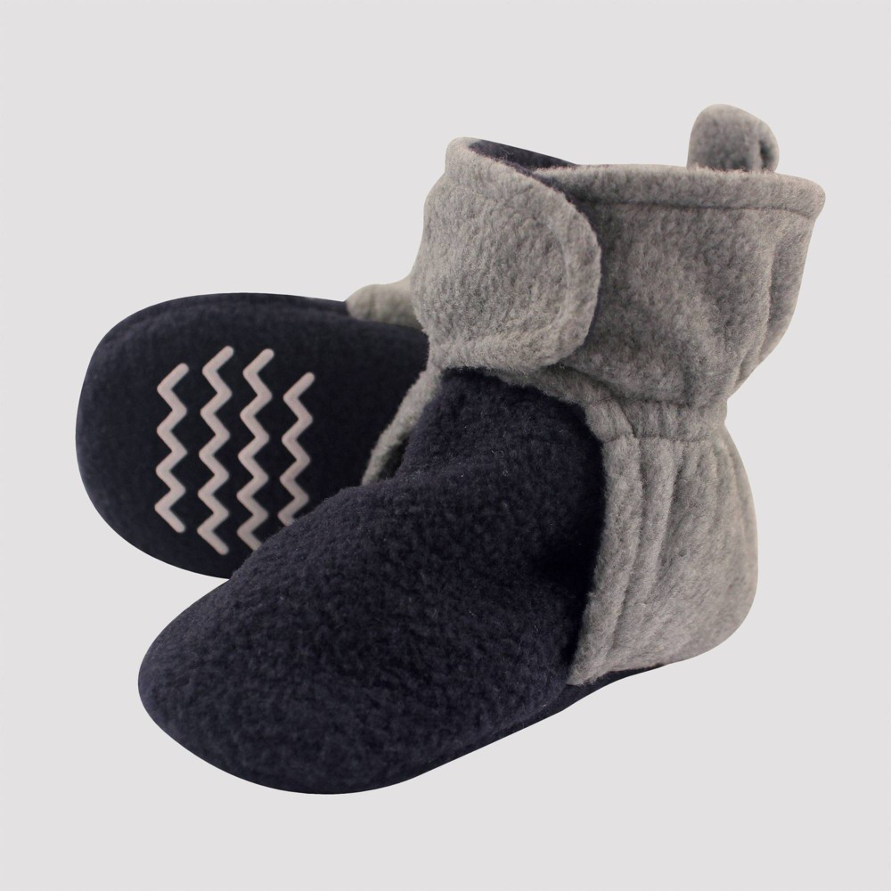 Image of Hudson Baby Two-Tone Fleece Lined Scooties - Navy/Heather Gray 18-24M, Kids Unisex, Blue/Grey Gray