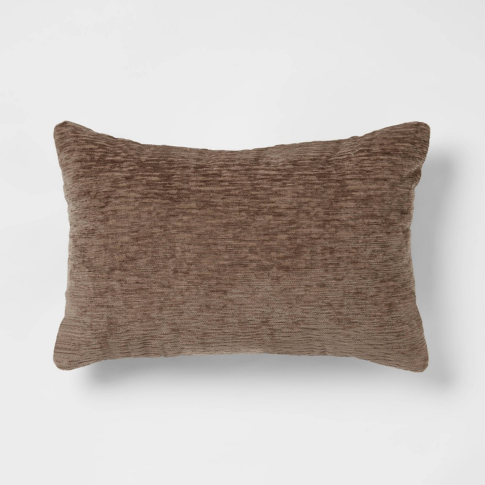 Solid Chenille Lumbar Throw Pillow Brown Threshold 8482