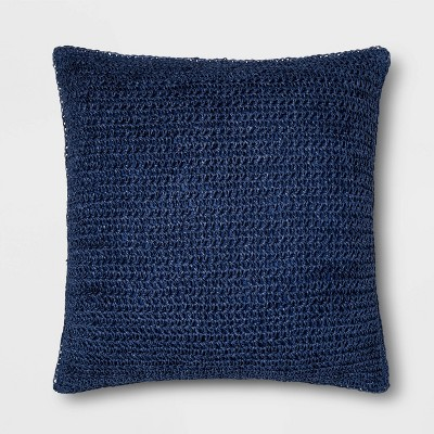 Square Paper Straw Pillow Navy - Threshold™