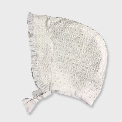 Baby Girls' Eyelet Bonnet Hat - Cat & Jack™ White - image 1 of 1