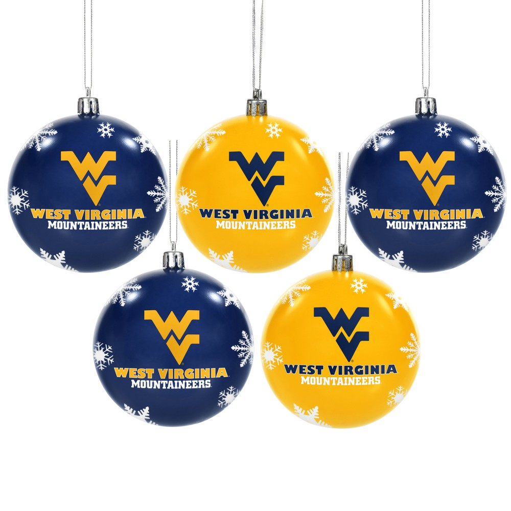 NCAA 5pk Shatterproof Ball Ornaments West Virginia Mountaineers