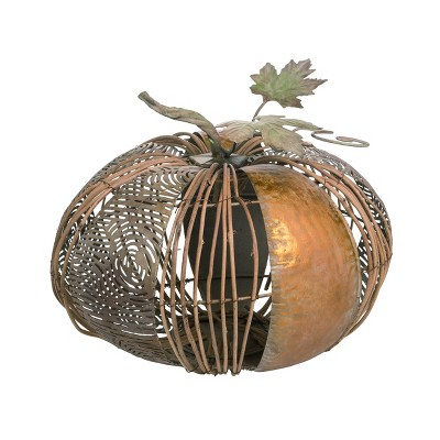 Transpac Metal 13 in. Gold Fall/Harvest Natural Material Accent Gold Pumpkin