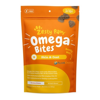Zesty Paws Omega 3 Skin and Coat Vitamins & Supplement for Dogs – 60 ct