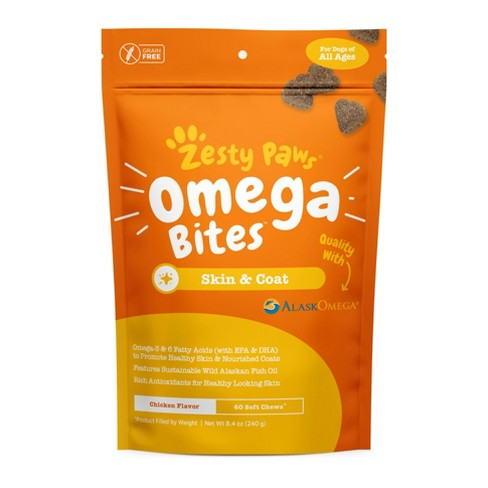 Zesty Paws Omega 3 Skin and Coat Vitamins & Supplement for Dogs – 60 ct - image 1 of 4