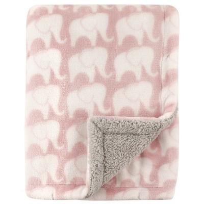 Hudson Baby Infant Girl Plush Blanket with Sherpa Back, Pink Elephant, One Size