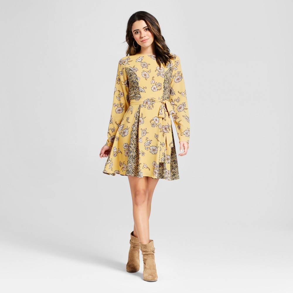 Women's Long Sleeve Floral Printed Tie Front Bubble Crepe Dress - Xhilaration Mustard (Yellow) XS