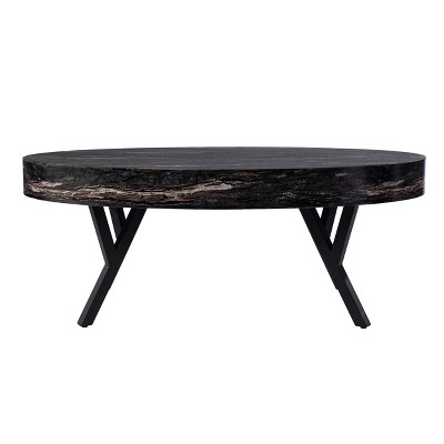 Masnan Faux Marble Cocktail Table Black - Aiden Lane