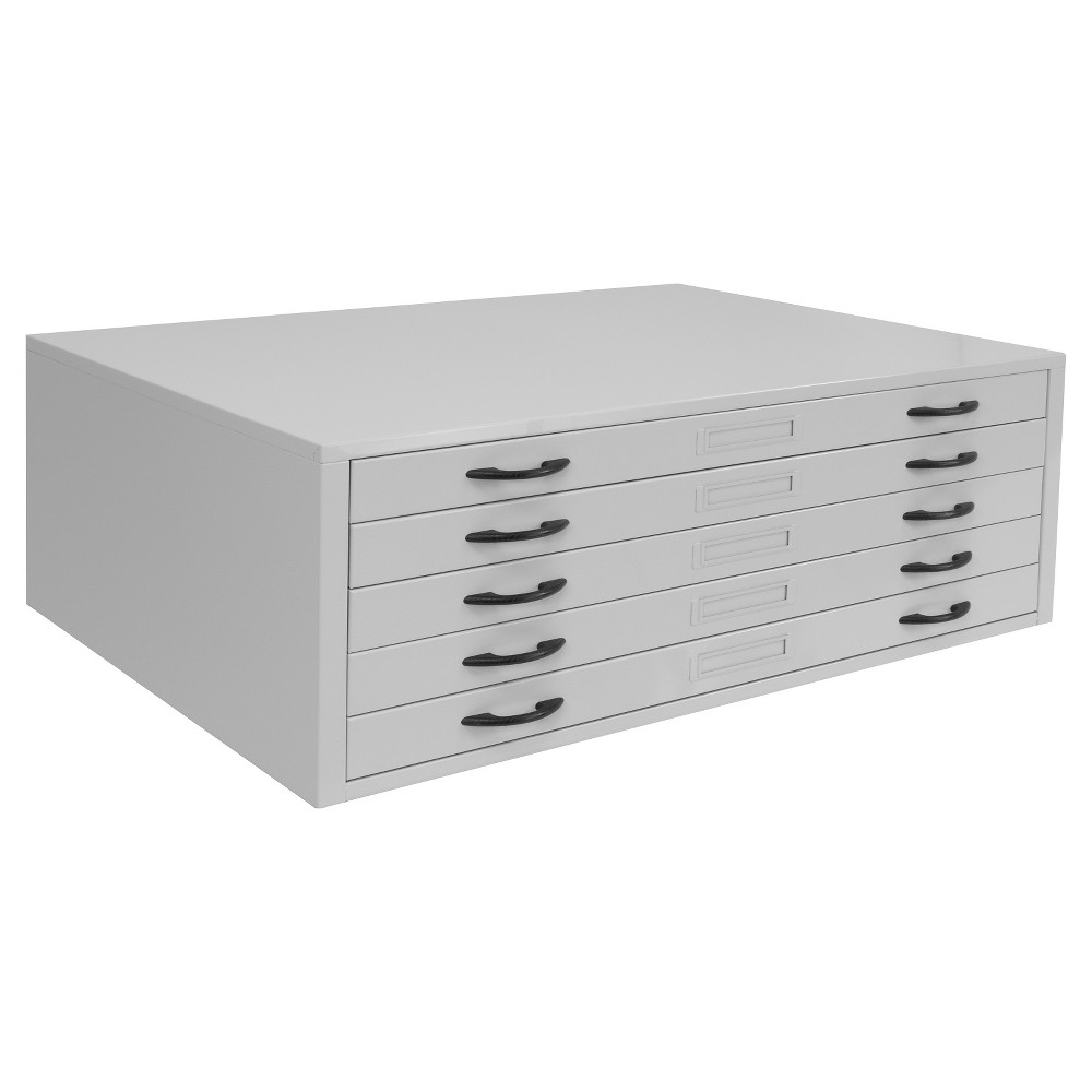 Flat File Cabinet for Large Prints - 40 Inch - Studio Designs, Gray