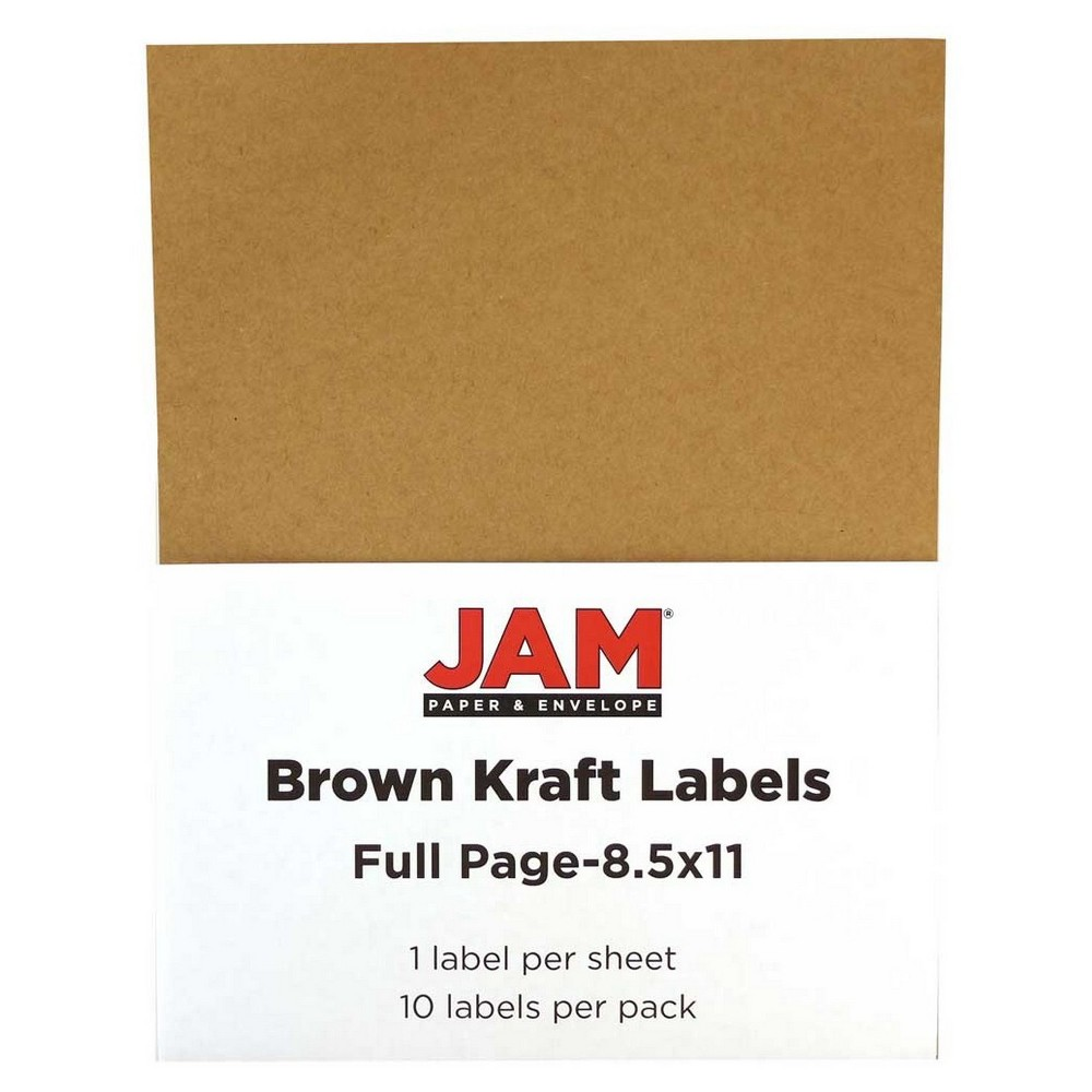 Jam Paper Shipping Labels 8.5 x 11 10ct - Brown