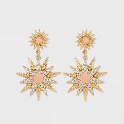 SUGARFIX by BaubleBar Celestial Drop Earrings - Blush Pink/Gold