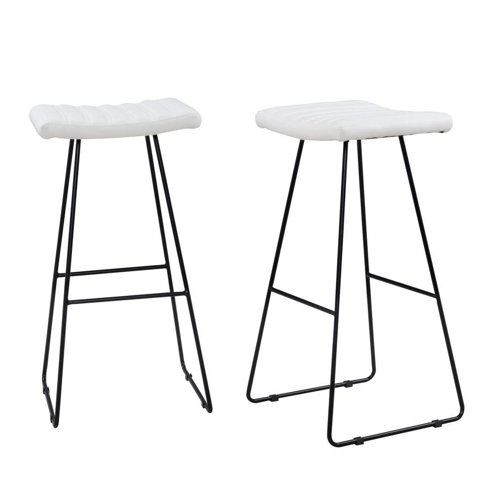 30 Stella Bar Stool Set Of 2 White/Black - Carolina Chair & Table