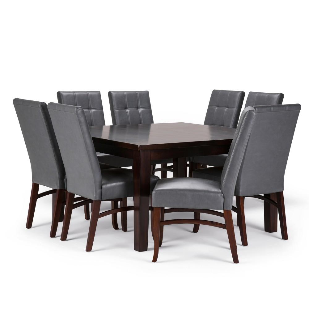 Hawthorne Solid Hardwood 9pc Dining Set Stone Gray - Wyndenhall, Stone Grey