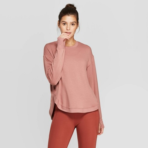 Women's Cozy Curved Hem Sweatshirt - JoyLab™ Burlwood S - image 1 of 2