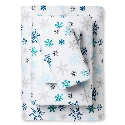 King Patterned Flannel Sheet Set Blue Snowflakes - Eddie Bauer