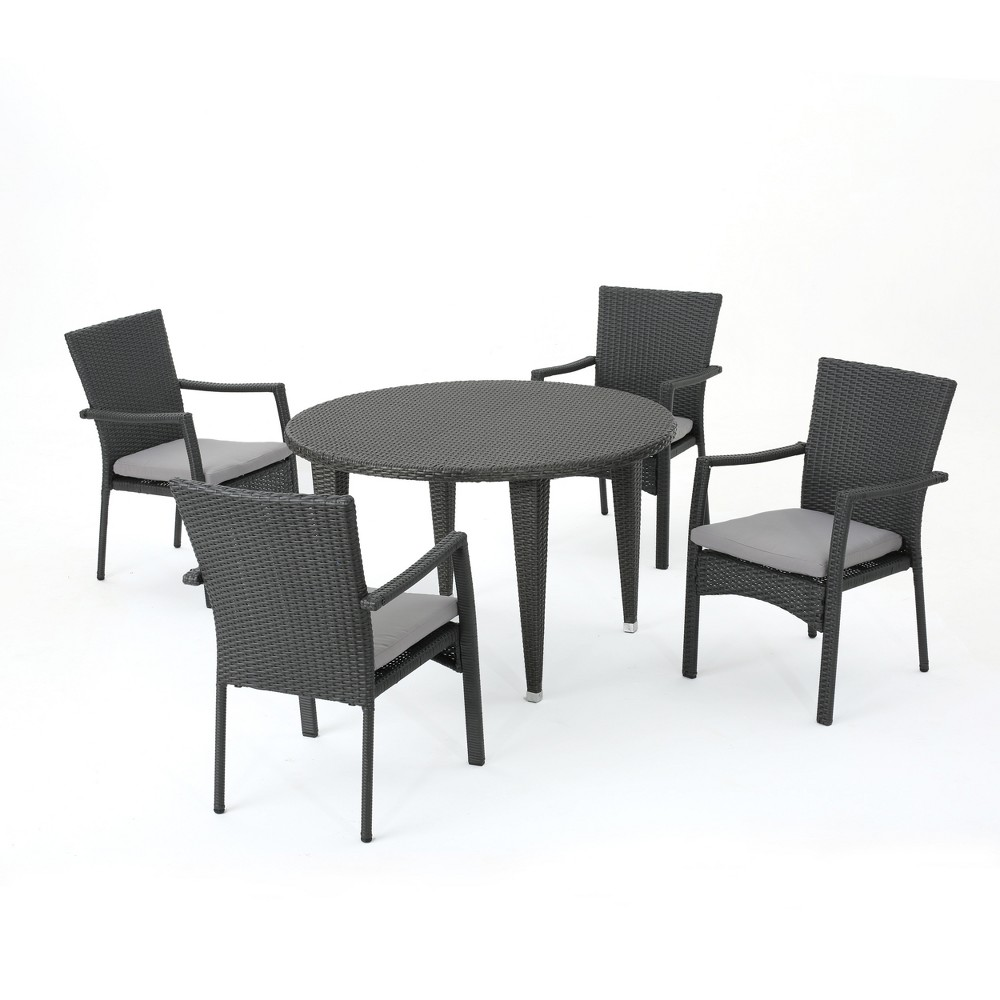Mussel Rock 5pc Wicker Dining Set - Gray - Christopher Knight Home