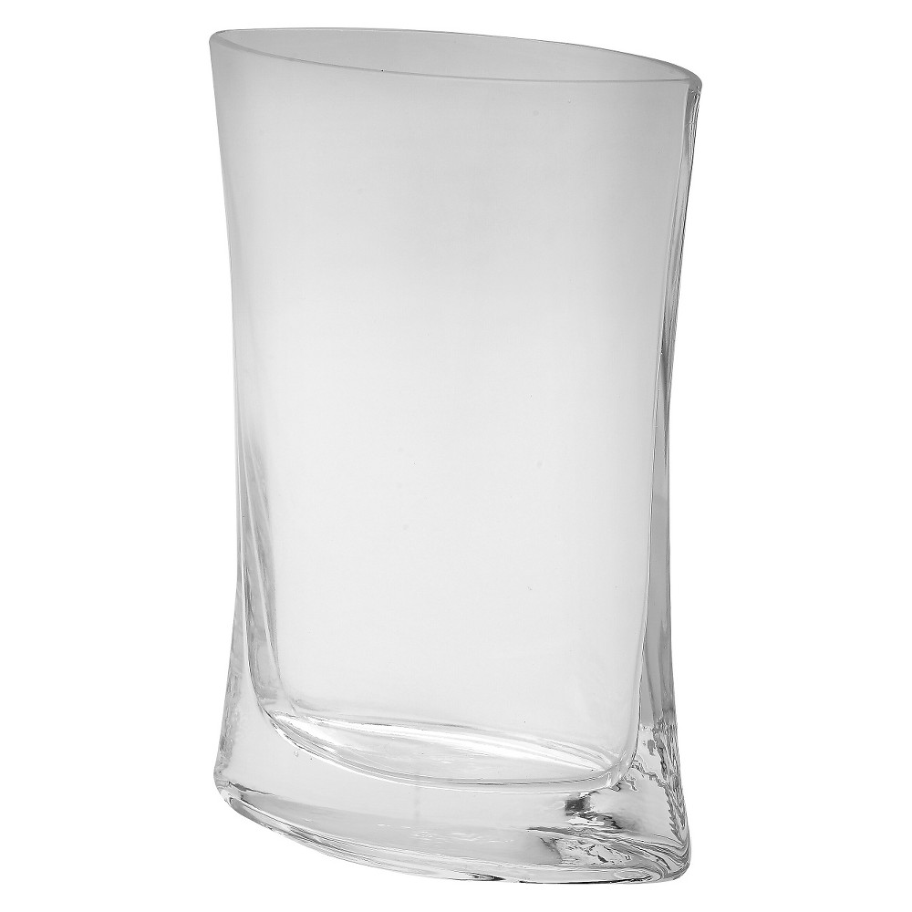 """Image of """"9.5""""""""x7"""""""" Glass Curved Vase - Diamond Star, Clear"""""""