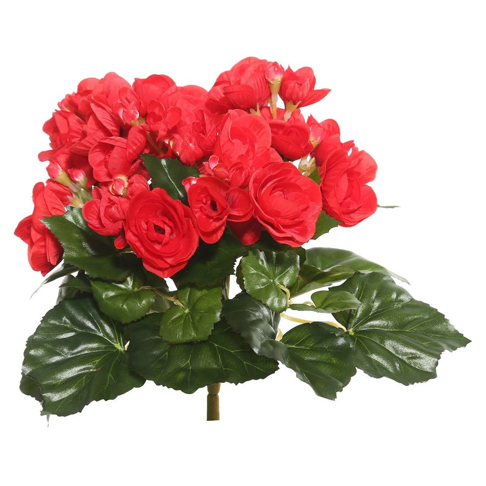"""Image of """"Artificial Begonia Plant (9.50"""""""") Red - Vickerman"""""""